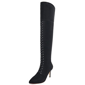 Nine Seven Suede Leather Women's Pointed Toe Stiletto Heel Lace Up Over The Knee Handmade Riding Boot (5, black)