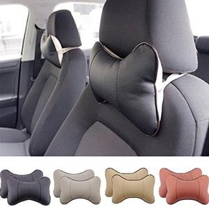 2 Piece Car Seat Leather Headrest Neck Pillow Dog Bone Shape Rest Cushion (BEIGE) by TRUE LINE Automotive