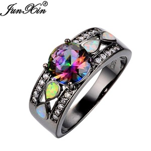Dudee Jewelry Fashion Jewelry Women Wedding Rainbow Opal Ring Colorful CZ 10KT Black Gold Filled Engagement Ring RB0264