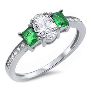 Accent 3 Stone Wedding Engagement Ring Baguette Simulated Green Emerald Oval Round CZ 925 Sterling Silver