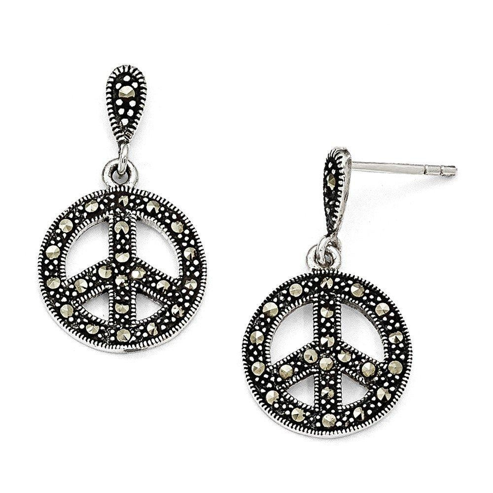 .925 Sterling Silver 25 MM Marcasite Peace Sign Dangle Post Stud Earrings