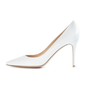 Eldof Women's Classic Basic Pumps Slip On 80mm Heel Solid Office Party Prom Wedding Dress Shoes White US12
