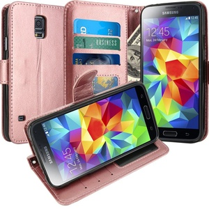 S5 Case, LK Galaxy S5 Wallet Case, Luxury PU Leather Case Flip Cover with Card Slots & Stand For Samsung Galaxy S5, ROSE GOLD