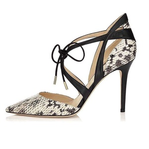 ViViKiKi Women's 100mm Pointed Toe High Heel Snakeskin Print Pumps Ankle Strap Self-tie Cut Out Shoes Snake US5
