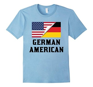 Men's Flags of Germany And USA German American T-Shirt Large Baby Blue
