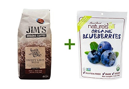 Jim's Organic Coffee Whole Bean Sweet Love Blend -- 11 oz, ( 2 PACK ), Nature's All Foods Organic Freeze-Dried Raw Blueberries -- 1.2 oz