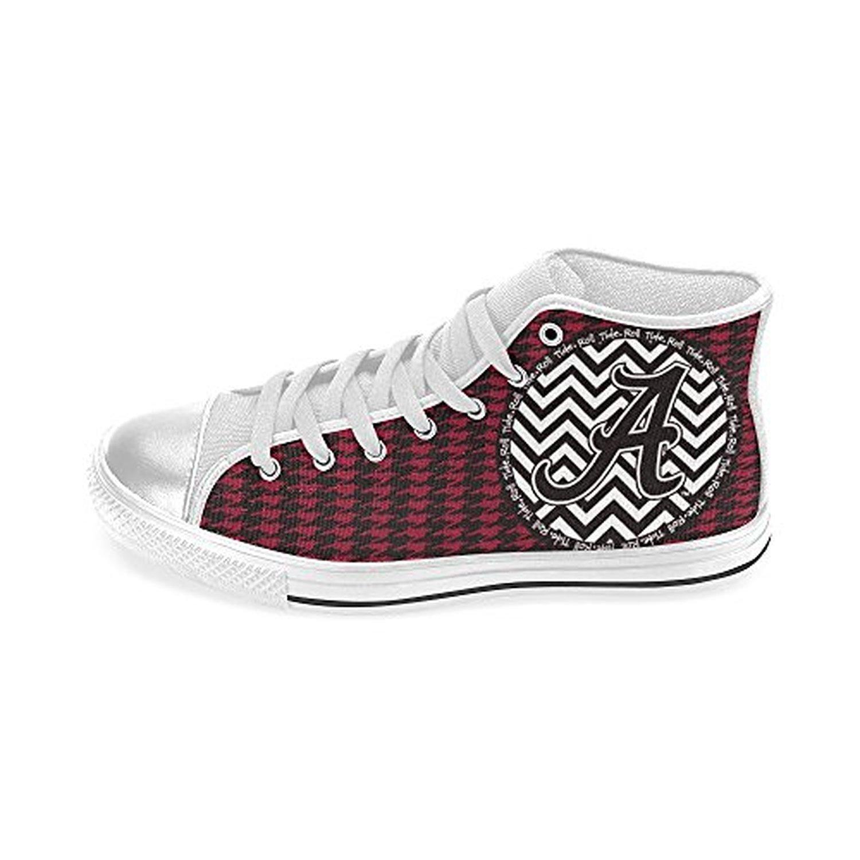 H-MOE Art Ncaa Alabama Crimson Tide Women's Canvas Shoes High-top Lace-up Breathable Sneakers,White