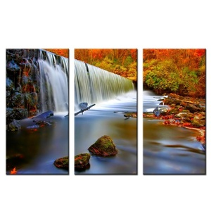 VVOVV Wall Decor - Landscape DIY Modern Canvas Prints Red Trees And Water Fall Wall Picture Canvas Decoration Home Decor For Living Room 12x24inchx3pcs,unframed
