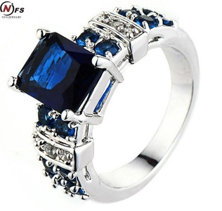 Dudee Jewelry Jewelry Jewelry Blue Square Zircon Stone Ring White Gold Filled Wedding Engagement Ring Men