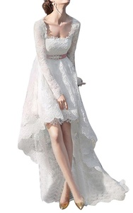 JoyVany Sexy Lace Long Sleeve High Low Wedding Dresses Simples Long Bridal Dress White Size 4