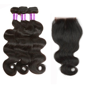 B&P Hair Brazilian Virgin Hair Body Wave 3 Bundles with Exquisite Swiss Lace Closure 44 Middle Part Unprocessed Virgin Human Hair Extensions (18 20 22+14inch closure)