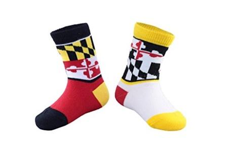 SKYLINE SOCKS Unisex Baby Maryland Mini Red Yellow White and Black