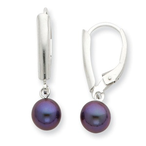 .925 Sterling Silver 6-7MM Black Freshwater Cultured Pearl Lever Back Earrings