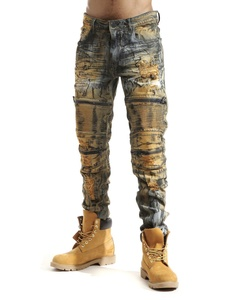 Smoke Rise Men's Premium Wash Rip & Repair Moto Biker Denim Jean-Rust-32/32