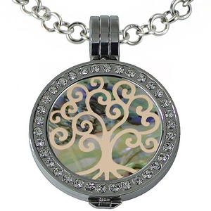 Quiges - Women Stainless Steel Necklace with 25mm Coin Locket and Coin Tree of Life/Flower of Life #891