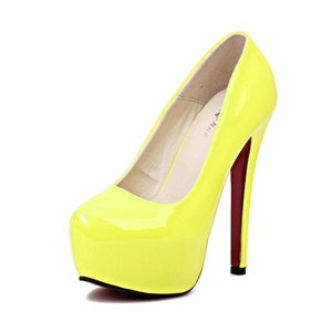 Jiame Women's Extreme High Fashion Pointed Toe Hidden Platform Sexy Stiletto High Heel Pump Shoes (13B(M)US, Patent Yellow)