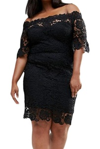Dokotoo Womens Hollow Out Floral Lace Plus Off Shoulder Dress