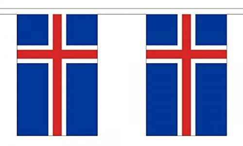 Iceland Bunting 9M Metre Length With 30 Flags 9X6 100% Woven Polyester by Iceland