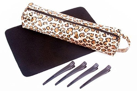 Heat Resistant (Leopard Print) Hair Straighteners Storage Bag With Heatproof Mat & Clips fits GHD, Cloud Nine & More by Ion