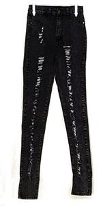 Women's Ripped Distressed Denim Jeans Mid Rise Skinny Pants BLACK S