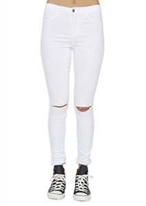 Vibrant Slit Knee High Waisted Solid Jeans White (XX-Large, White)
