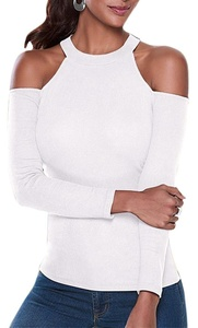 Anmengte Women Casual Top Cut Out Off Shoulder Long Sleeves Blouse (M, White)