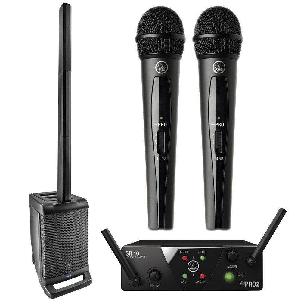 JBL EON ONE Linear Array PA System w/ AKG WMS40V2 Wireless Microphone