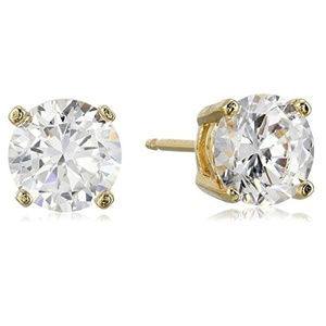 Sterling Silver Round Cut Cubic Zirconia 8mm Stud Earrings Gold Plated