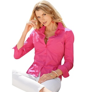 Gillberry Womens Ladies Long Sleeve Cotton Casual Blouse Business Shirt Top (L, Hot pink)