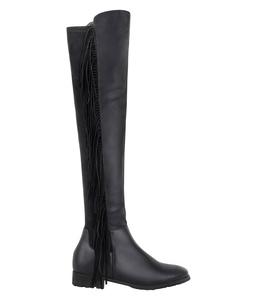 Over The Knee Fringe Boots (4246-BLK-8)