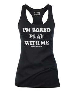 Aesop Originals Women's I'm Bored Play With Me Tank Top XL Black