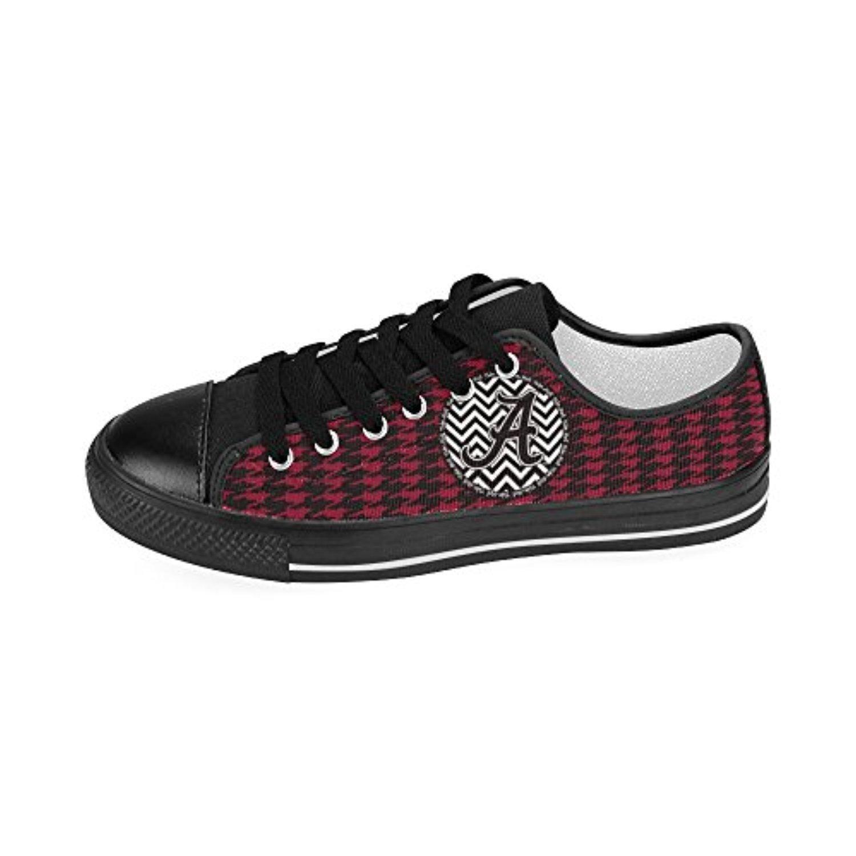 H-MOE Art Ncaa Alabama Crimson Tide Men's Canvas Shoes Low-top Lace-up Breathable Sneakers,Black