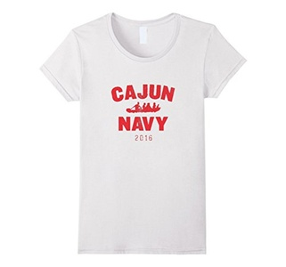 Women's CAJUN NAVY 2016 T shirt Medium White