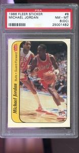 1986-87 Fleer Sticker #8 Michael Jordan ROOKIE PSA 8 (OC) Graded Basketball Card