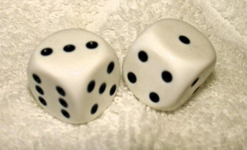 White Opaque Dice Pair by NON-Label by NON-Label