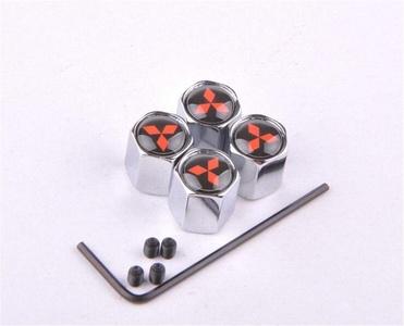 Xiawa Anti-theft Chrome Car Wheel Tire Valve Stem Caps Set With Logo For Mitsubishi Black