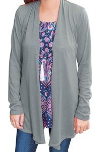 Women's Light Weight Open Front Drape Long Sleeve Cardigan Sweater Grey XL
