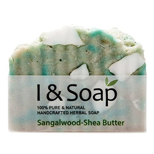 I & SOAP, Shea Butter-Sandalwood Soap - 100% Natural & Organic Materials - Handcrafted Herbal Soap - Gentle and Effective Facial, Hand and Body Cleansing Soap Bars - Best Natural Skin Care for Very Dry Skin or Sensitive Skin - Organic Shea Butter - Deeply Moisturizing Soft Soap - Made in USASodium Lauryl Sulfate(SLS), Paraben and Phthalate FREE - Shea Butter-Sandalwood by I & SOAP