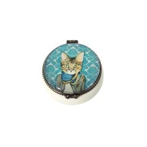 CAT IN CLOTHES BEIGE BLUE SMALL CERAMIC PILL TRINKET BOX 3.5X5.5X5CM