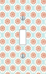 Single Light Switch Plate Cover tuscan red floral pattern living room bedroom kitchen dining family room modern minimalist art Home Decor USA made