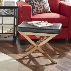 Chelsea Lane Small Champagne Gold X-Base Stool, Bonded Leather