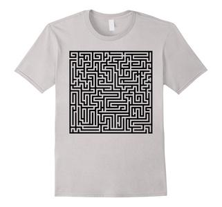 Men's Maze T-Shirt Puzzle Funny Unique Shirt Design Labyrinth XL Silver