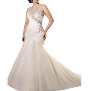 Bridalonline Women's Mermaid Long Beaded Organza Wedding Dresses Bridal Gowns Ivory 8
