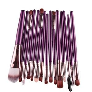 Makeup Brush Set,Neartime 15 pcs Eye Shadow Foundation Eyebrow Lip Brushes Beauty Brush Tool (Purple)