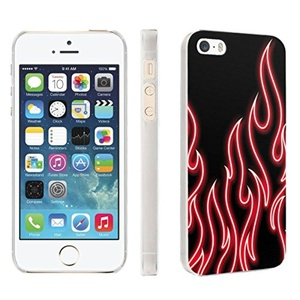 iPhone [SE/5/5S] Phone Case [Skinguardz] [Clear] Fancy Protection [Clear Form Fit] - [Red Neon Flames] for iPhone [SE/5/5S]