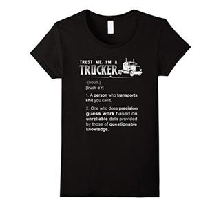 Women's Trust me, I'm a trucker T-shirt Small Black