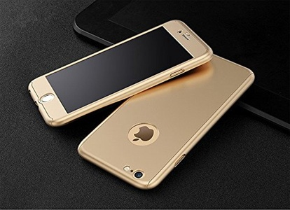 iPhone 7 Plus Case, MAGGICWEI-DL Full Body Coverage Ultra-thin Hard Hybrid Plastic with [Slim Tempered Glass Screen Protector] Protective Case Cover & Skin for Apple iPhone 7 Plus (Gold)