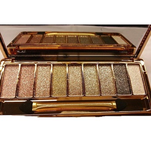 QzoneFire Women 9 Colors Waterproof Make UP Glitter Eyeshadow Palette with Brush