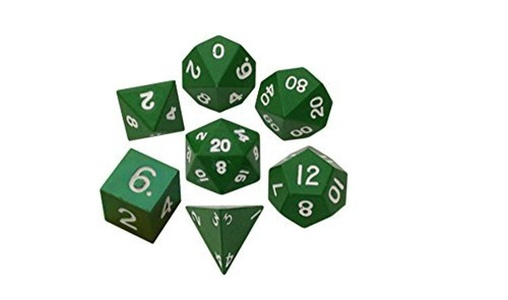 Metal Dice: 16mm Painted Polyhedral Dice Set of 7 - Green by Metallic Dice Games