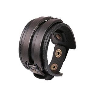Bracelets,UPLOTER FashionMen RetroGenuine Leather Buckle Cuff Bangle Wristband Bracelet (Black)